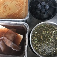 iron (top left), rhubarb (bottom left), and artichoke-in-progress (bottom right)