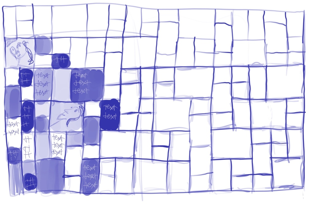 """a very rough sketch of a blue quilt outline, with some squares and rectangles colored in different shades of blue with """"text"""" written on top in other shades of blue.  Two squares have rough drawings of faces."""